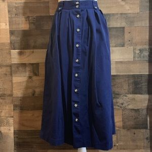 Vintage Bryn Connelly Blue Button Front Skirt
